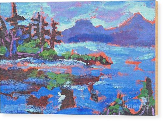 Maine In Blue Wood Print