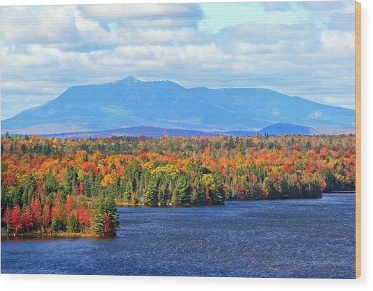 Maine's Mt. Katahdin In Autumn Wood Print