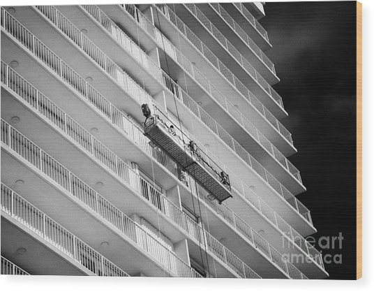 Maintenance And Cleaning Crew On Platform Lift On Apartments Beachfront Developments Fort Lauderdale Wood Print
