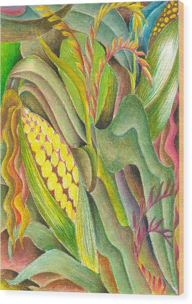 Maize Wood Print by Jaanaka Kandepola