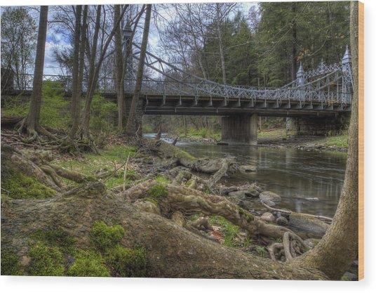 Majestic Bridge In The Woods Wood Print