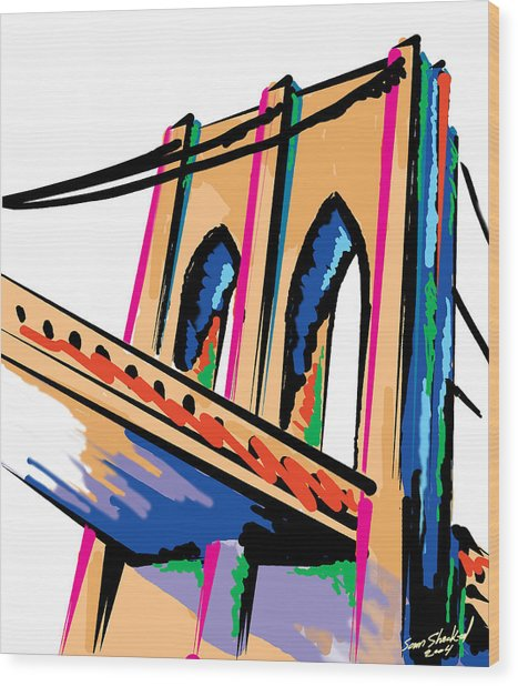 Majestic Brooklyn Bridge Wood Print