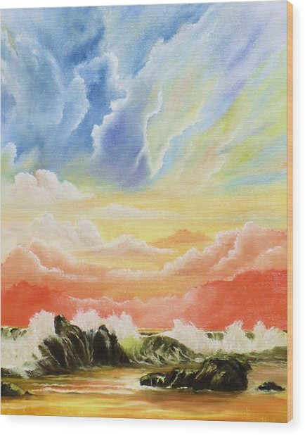 Majestic Clouds Wood Print by Janet Hufnagle