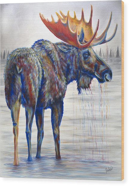 Majestic Moose Wood Print