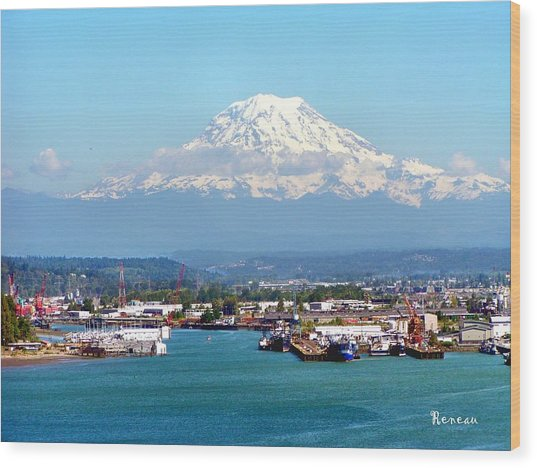Majestic Mt Rainier And Pt Of Tacoma Wa Wood Print