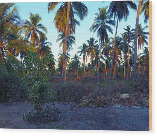 Majestic Purple Palms Wood Print
