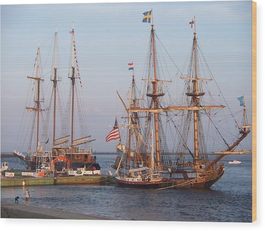 Majestic Tall Ships Wood Print by Rosanne Bartlett