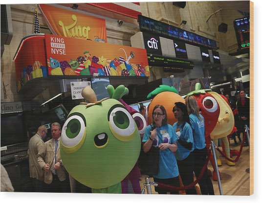 Makers Of Popular Candy Crush Game Make Public Debut On New York Stock Wood Print by Andrew Burton