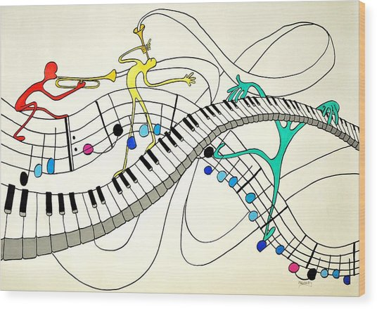 Making Music Wood Print by Glenn Calloway