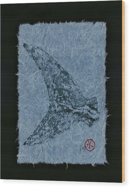 Mako Tail On Pale Blue Unryu Paper Wood Print