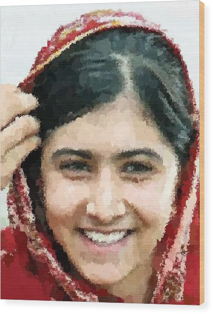 Malala Yousafzai Portrait Wood Print