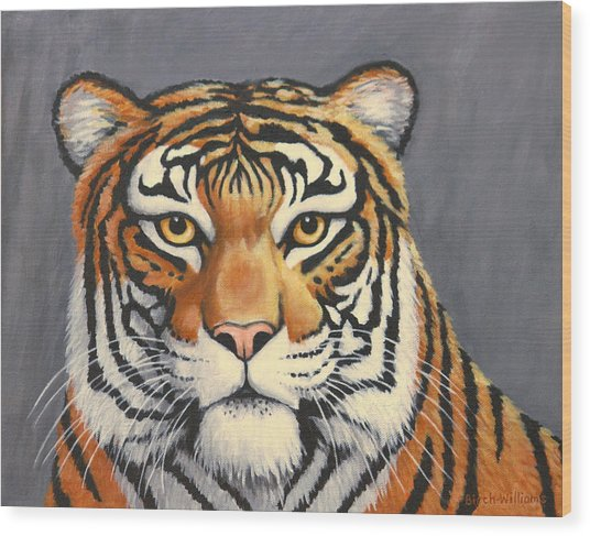 Malayan Tiger Portrait Wood Print