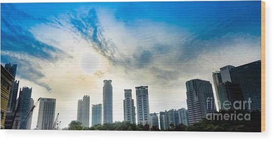 Malaysia Skyline Wood Print by Receb Parsel