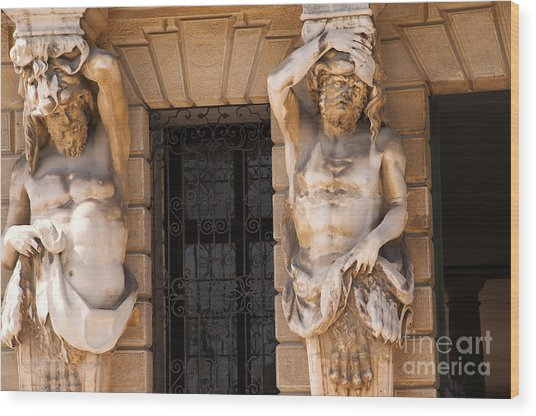 Male Caryatids Wood Print