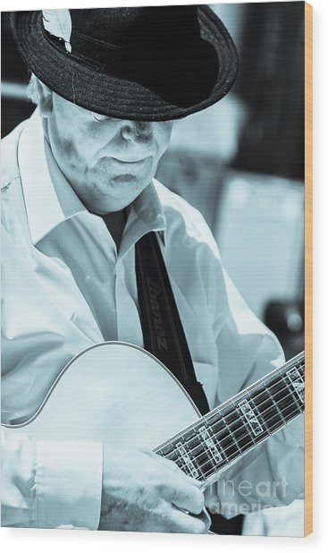 Male In Alpine Hat Playing Guitar Wood Print