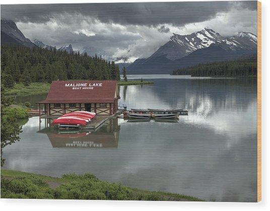 Maligne Lake Jasper Park Wood Print