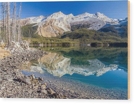 Maligne Lake Reflection Jasper Wood Print by Pierre Leclerc Photography