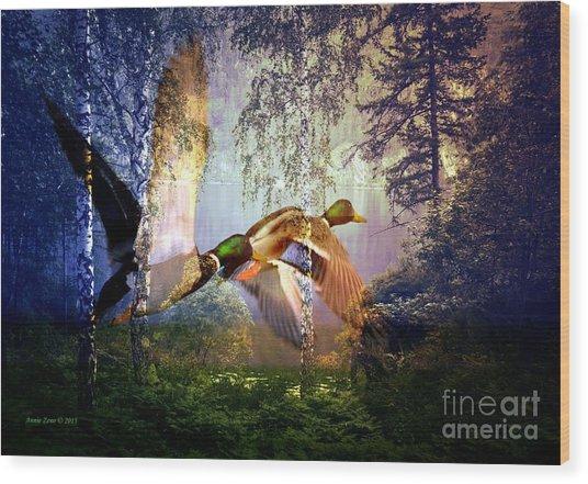 Mallard Ducks Flying To The Lake Wood Print