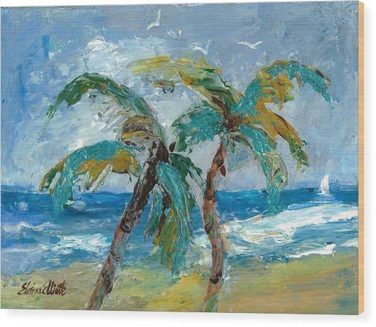 Mallibu Palms Wood Print