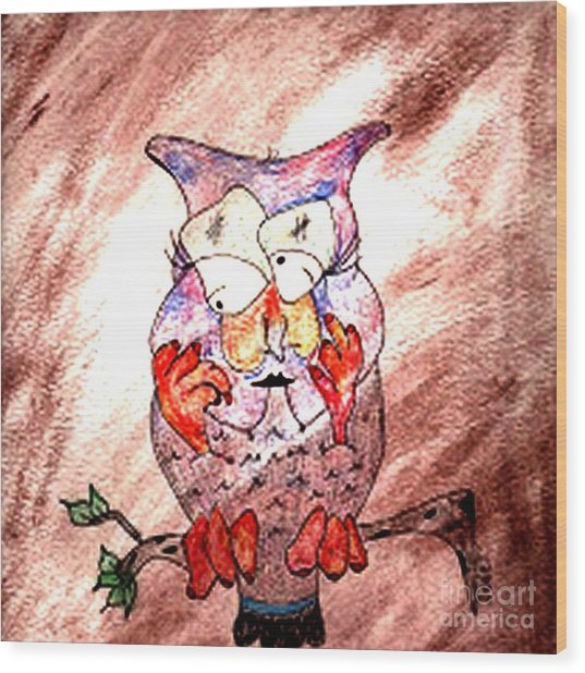 Mama Owl Wood Print by Donna Daugherty