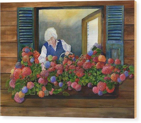 Mama's Window Garden Wood Print