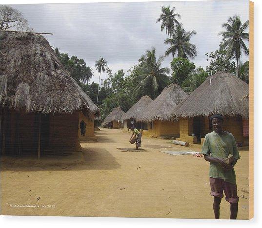 Mamboima Village Wood Print