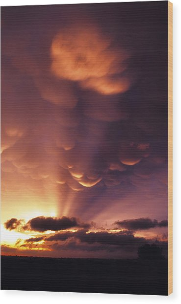 Mammatus Sunset Over Colorado Wood Print