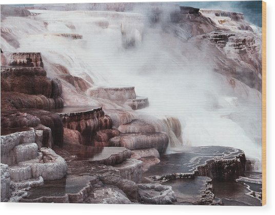 Mammoth Hot Springs In Yellowstone Wood Print