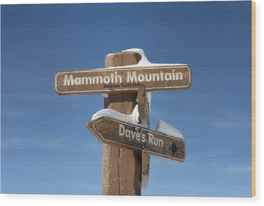 Mammoth Mountain Sign In Mono County Wood Print