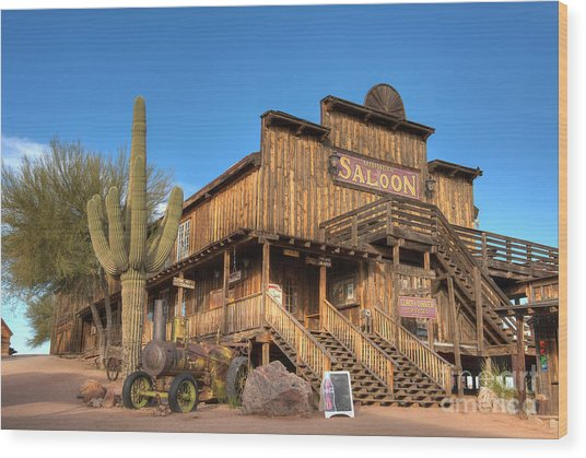Mammoth Saloon Wood Print by Eddie Yerkish