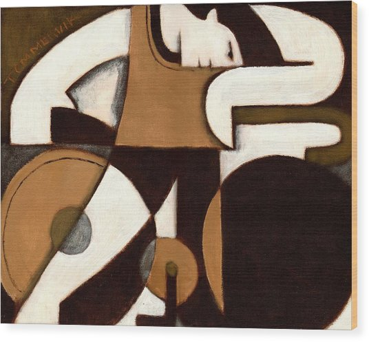 Tommervik Art Deco Man And Bike Cycling Art Print Wood Print