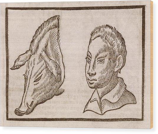 Man And Pig's Head Wood Print