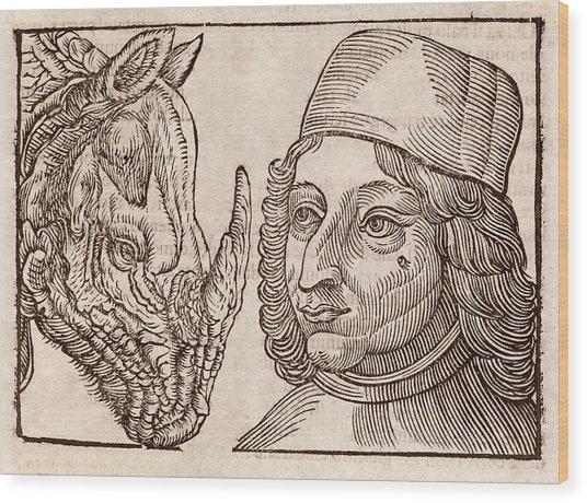 Man And Rhino's Head Wood Print