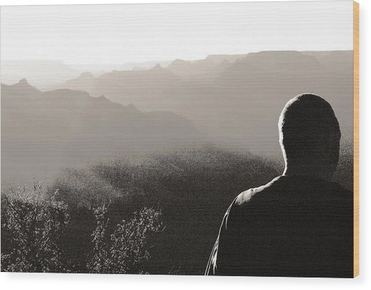 Man At Grand Canyon Wood Print