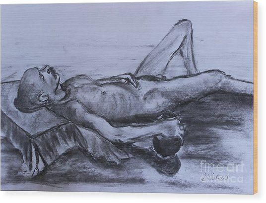 Man At Rest Wood Print by Sharon Wilkens
