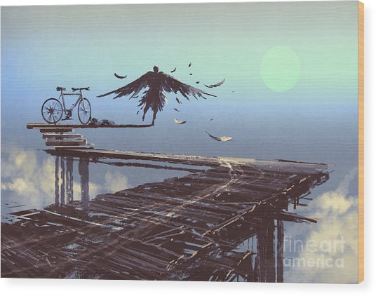 Man Becomes Bird Standing On End Of Wood Print by Tithi Luadthong