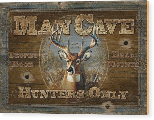 Man Cave Deer Wood Print