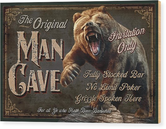 Man Cave Grizzly Wood Print