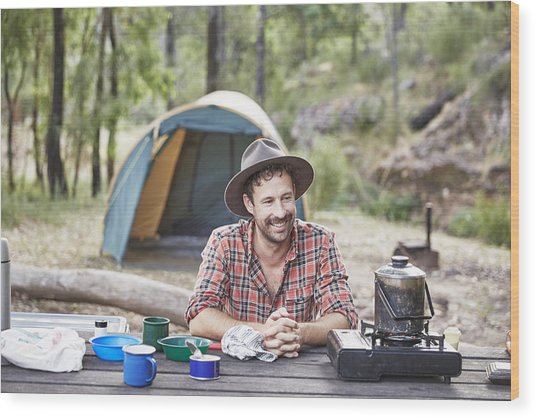 Man Cooking And Camping In Australian Bush Wood Print by Stuart Miller
