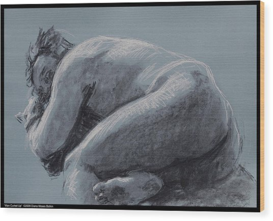 Man Curled Up Wood Print