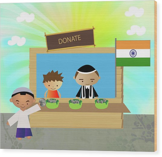 Man Donating For Country Wood Print