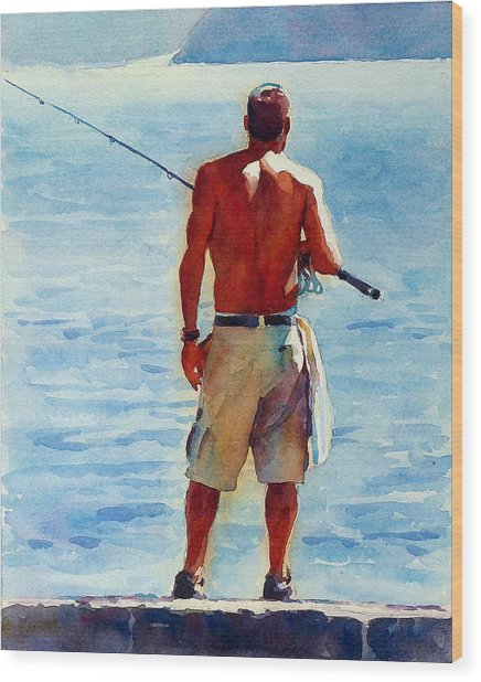 Man, Fishing Wood Print by Graham Berry