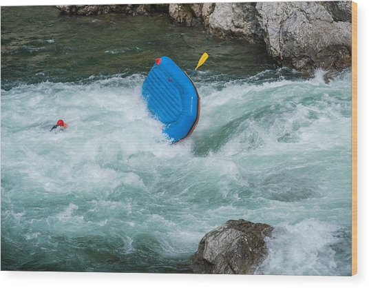 Man Floating In A River After His Raft Flipped Over While White Water River Rafting Wood Print by Tdub303