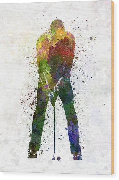 Man Golfer Putting Silhouette Wood Print