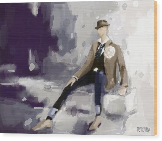 Man In A Fedora Fashion Illustration Art Print Wood Print