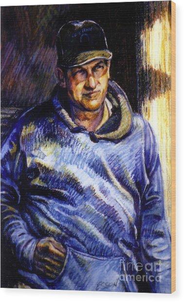 Man In Barn Wood Print