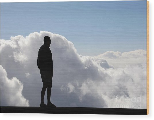 Man In The Clouds Wood Print