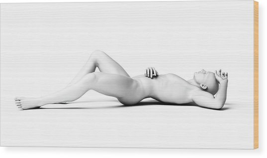 Man Lying Down Wood Print by Sebastian Kaulitzki