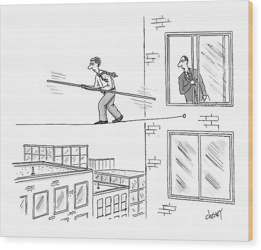 Man On A Tightrope Outside An Office Building Wood Print