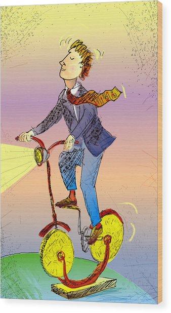 Man On Bike Made Of Coins Wood Print by Vasily Kafanov
